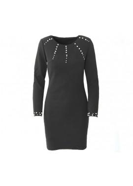 Μαύρο φόρεμα με σχέδιο πέρλες