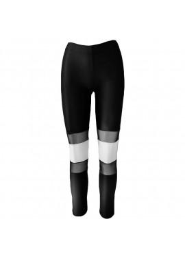 Black - White leggings with transparent detail