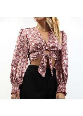 Crop blouse with hoop