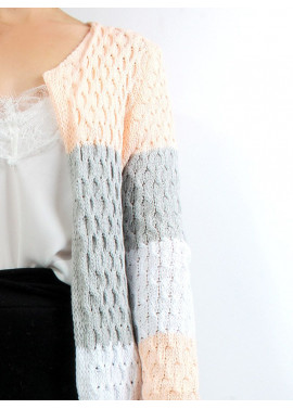 Knitted cardigan with stripes