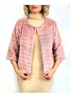 Faux shearling short jacket with stripes