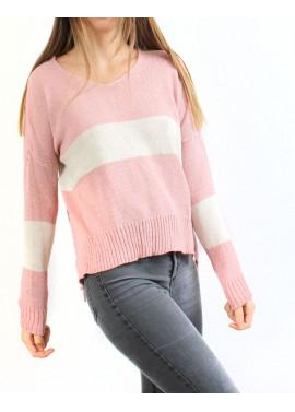 Πλεκτή μπλούζα ροζ με ρίγα