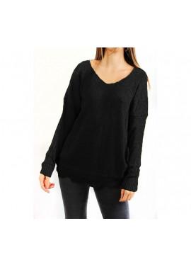 Πλεκτή μαύρη μπλούζα