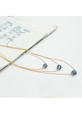 Κολιέ με αλυσίδες και γαλάζιες χάντρες